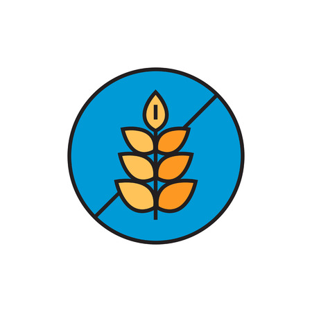 food allergy: Illustration of crossed wheat ear in circle. Gluten free sign, food, products, allergy. Free allergen product concept. Can be used for topics like food, shopping, nutrition Illustration