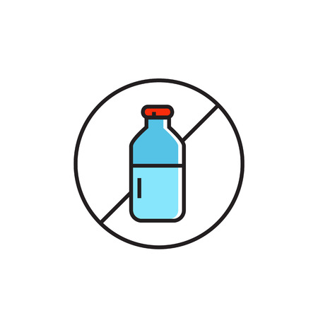 allergen: Illustration crossed milk bottle in circle. Diary free sign, food, diary free products, allergy.  Free allergen product concept. Can be used for topics like food, shopping, nutrition Illustration