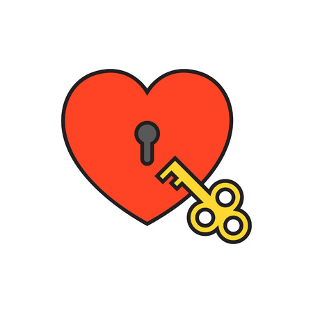 secret love: Heart-shaped padlock with key. Heart lock with key, love, opening. Love concept. Can be used for topics like love, Valetines day, secret