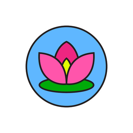 harmony nature: Illustration of flower in circle. Lotus, blossom, beauty. Flower concept. Can be used for topics like nature, meditation, harmony