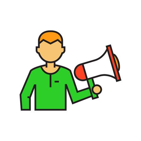 announcing: Man holding megaphone. Loudspeaker, speaker, leadership, communication. Leadership conccept. Can be used for topics like communication, leadership, politics