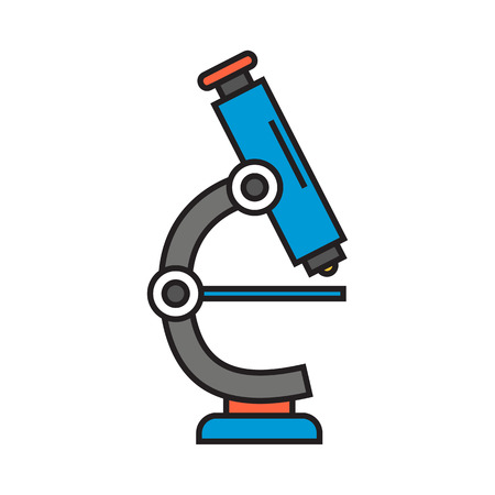 microscope lens: Microscope illustration. Science, school, magnifier, lens. Science concept.Can be used for topics like science, school, education