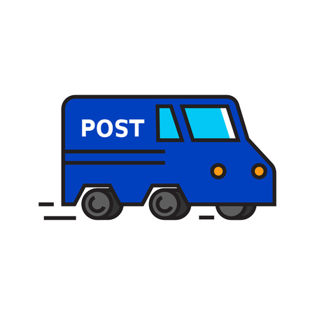 sign post: Vehicle with post sign. Post service car, transport, delivery. Post service concept. Can be used for topics like post service, post office, delivery