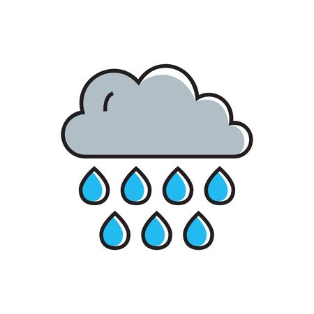 humidity: Cloud with raindrops illustration. Cloudy weather, rain, weather forecast. Weather concept. Can be used for topics like weather, climate, meteorology, weather forecast