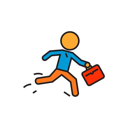 Ejecución de la persona con la cartera. Hombre de negocios corriente, negocio, tarde, tiempo, darse prisa. Concepto de negocio. Puede ser utilizado para tpics como negocio, el tiempo, el trabajo Ilustración de vector