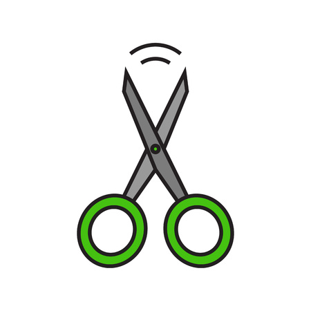 topics: Scissors illustration. Stationery, office, instrument, haircut. Stationery concept. Can be used for topics like stationery, beauty salon, office