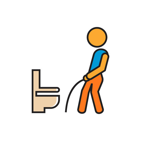 urination: Man urinating in public restroom. Toilet hygiene, cleanliness, indecent behaivor. Toilet hygiene concept. Can be used for topics like public places, hygiene, behaivor Illustration