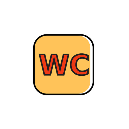 wc sign: WC sign in rectangular with rounded corners. Public toilet, water closet, restroom. Sign concept. Can be used for topics like, restaurant, facilities, public places