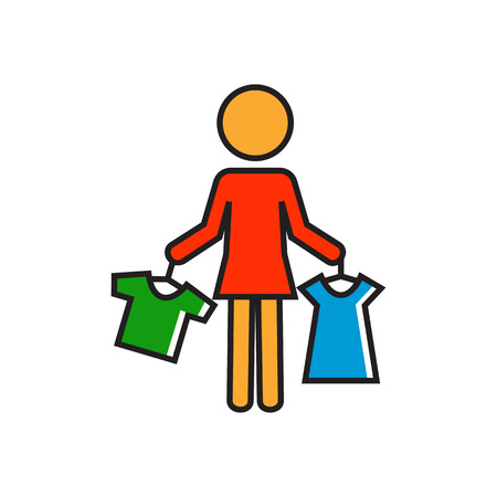 shop assistant: Woman holding clothes on hangers. Shopping, choice, shop assistant. Shopping concept. Can be used for topics like shopping, clothes, work