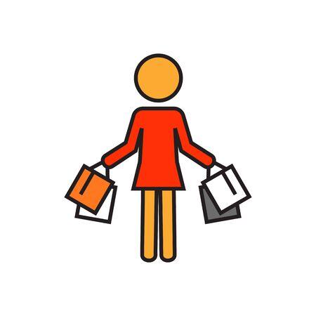 mujer en el supermercado: Mujer llevando bolsas de la compra. Compras, compra, venta. Concepto de compras. Puede ser utilizado para temas como compras, ventas, ropa