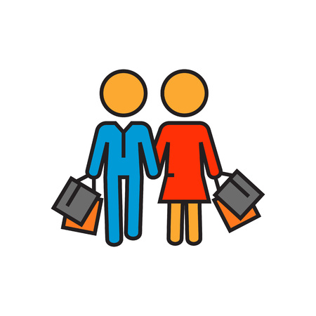 shopping family: Couple carrying shopping bags. Shopping together, buying, shop, supermarket. Shopping together concept. Can be used for topics like shopping, family, customers Illustration