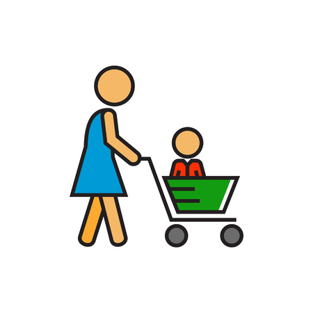 shopping family: Woman carrying child in shopping cart. Shopping with child, supermarket, buying. Shopping with child concept. Can be used for topics like  shopping, family, customers Illustration