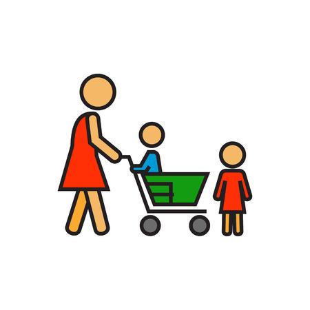 mujer en el supermercado: La mujer con los niños y carrito de compras. De compras con los niños, supermercado, compra. Compras con el concepto de niño. Puede ser utilizado para temas como compras, familiares, clientes Vectores