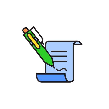 signing document: Document and writing pen putting signature. Signing contract, agreement, business, partnership. Signing contract concept. Can be used for topics like business relations, partnership, agreement Illustration