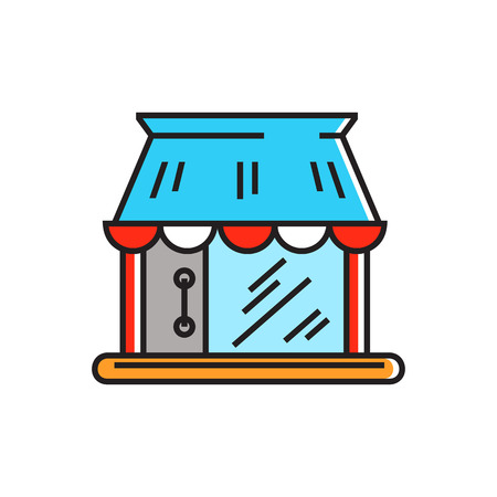vitrine: Shop building. Shopping, selling, shop window. Shopping concept. Can be used for topics like shopping, commerce, sales