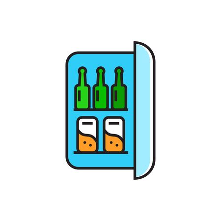 minibar: Minibar with bottles and cans. Fridge, beverages, drinks. Kitchen concept. Can be used for topics like kitchen, drinks, hotel Illustration