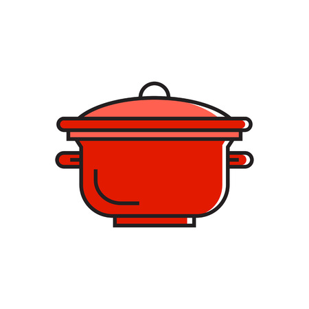stewing: Illustration of saucepan with cover. Cooking, stewing, meal. Kitchen concept. Can be used fortopics like kitchen, meal, cooking Illustration