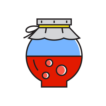 confiture: Illustration of half full jar with paper cover. Jam, glass jar, confiture. Kitchen concept. Can be used for topics like cooking, food, kitchen