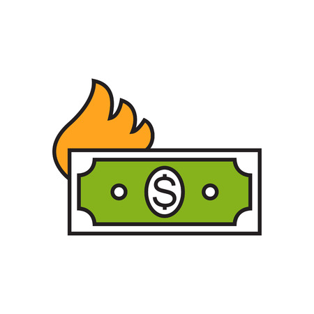 burning money: Banknote with dollar sign and flame silhouette. Burning money, expenses, finance. Money concept. Can be used for topics like money, finance, banking