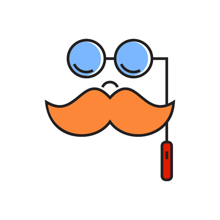 role: Mask with moustache and spectacles. Funny mask, entertainment, actor, role. Funny mask concept. Can be used for topics like theatre, entertainment, party