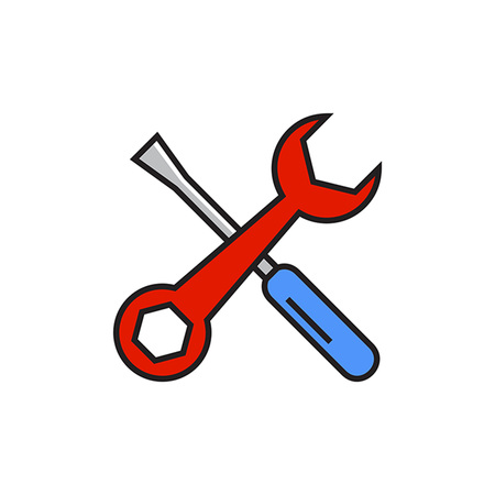 fixing: Crossed spanner and screwdriver. Instruments, tools, fixing. Fixing concept. Can be used for topics like fixing, instruments, repairing