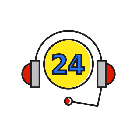 twenty four hour: Twenty four hour sing with headset. Twenty four hour support service, day and night, assistance. Twenty four hour service concept. Can be used for topics like assistance, service, business