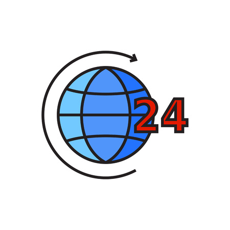 twenty four hour: Earth globe with circle arrow and twenty four hour sign. Service, day and night, world. Twenty four hour worldwide service concept. Can be used for topics like support, service, business