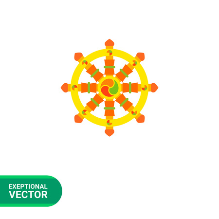 qigong: Multicolored vector icon of Indian symbol wheel of Dharma