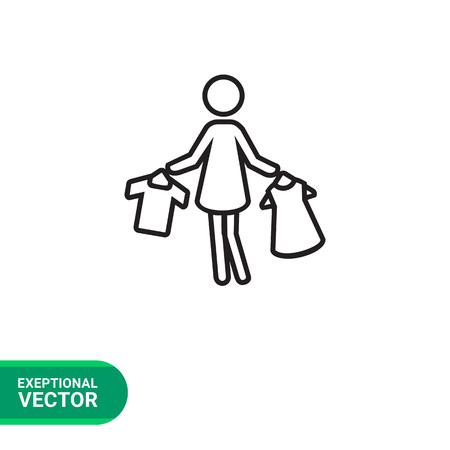 hangers: Icon of woman silhouette holding clothes on hangers