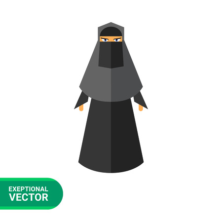 burqa: Multicolored vector icon of woman wearing black burqa
