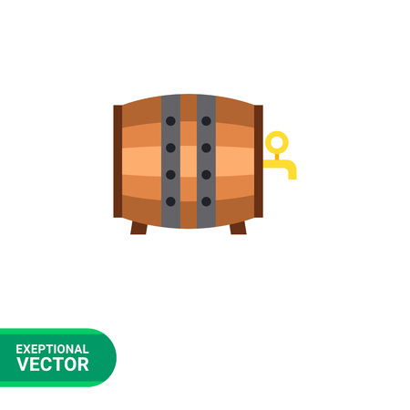 metal legs: Multicolored vector icon of wood barrel for beer or wine
