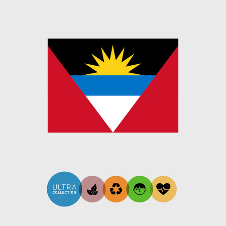 antigua: Set of vector icons with Antigua and Barbuda flag