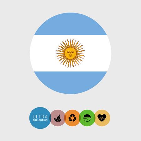 argentine: Set of vector icons with Argentina flag Argentine Illustration