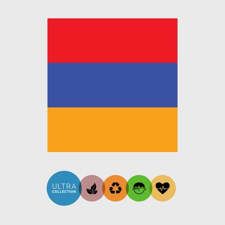 armenia: Set of vector icons with Armenia flag
