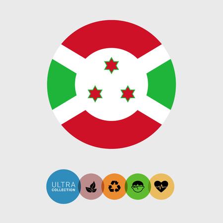 burundi: Set of vector icons with Burundi flag