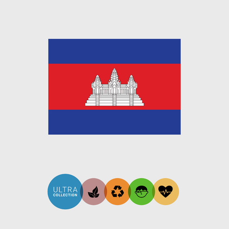 cambodian: Set of vector icons with Cambodia flag Illustration