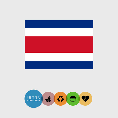costa rica: Set of vector icons with Costa Rica flag