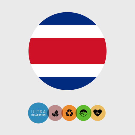 costa rica flag: Set of vector icons with Costa Rica flag