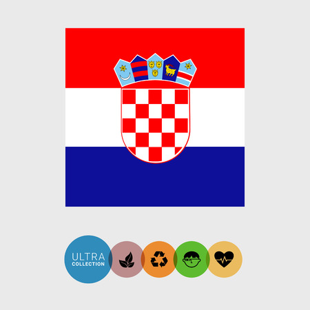 bandera croacia: Conjunto de iconos del vector de la bandera de Croacia