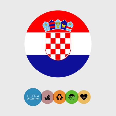 bandera de croacia: Conjunto de iconos del vector de la bandera de Croacia