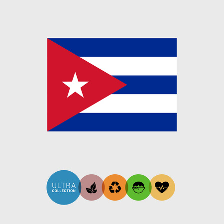 flag of cuba: Set of vector icons with Cuba flag