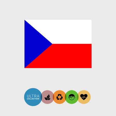 czech republic flag: Set of vector icons with Czech Republic flag