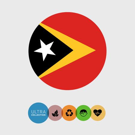 estrellas cinco puntas: Conjunto de iconos del vector con la bandera de Timor Oriental