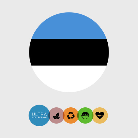 estonia: Set of vector icons with Estonia flag