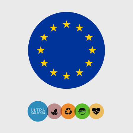 coalition: Set of vector icons with European Union flag