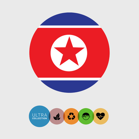 republic of korea: Set of vector icons with flag of the Democratic Peoples Republic of Korea