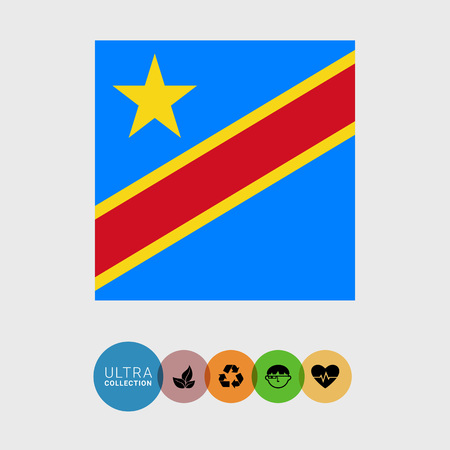 estrellas cinco puntas: Set of vector icons with flag of the Democratic Republic of the Congo Vectores