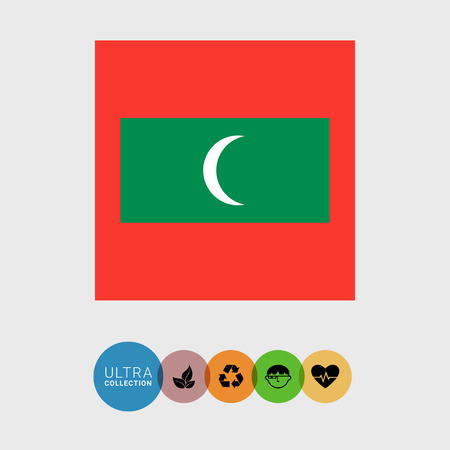 maldives island: Set of vector icons with flag of the Maldives