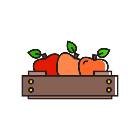 greengrocery: Illustration of apples in wooden crate. Fruit, healthy food, greengrocery. Food concept. Can be used for topics like healthy food, fruit, greengrocery