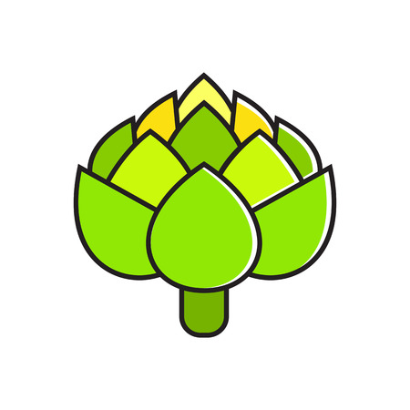 greengrocery: Illustration of fresh green artichoke. Vegetable, healthy food, greengrocery. Food concept. Can be used for topics like healthy food, vegetables, greengrocery Illustration